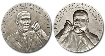 Cook Islands 2010 $5 Obama & King Antique Silver BU Pair