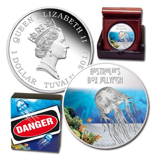 Tuvalu 2011 $1 Box Jellyfish 1oz Silver Proof