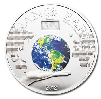 Cook Islands 2012 $10 Nano Earth - The World In Your Hand Silver Proof