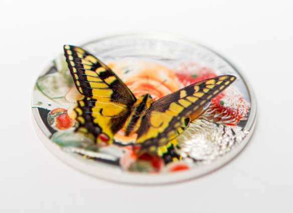 Andorra 2013 5 Diners Swallowtail Butterfly 3D Colour Silver Proof - click image for more information