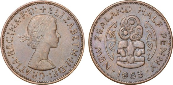 Halfpenny 1965 muled with British Halfpenny obverse