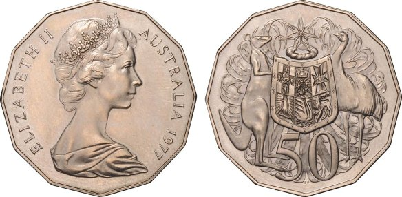 Fifty Cents 1977 coat-of-arms reverse instead of the normal silver jubilee reverse (weight 15.41gms)