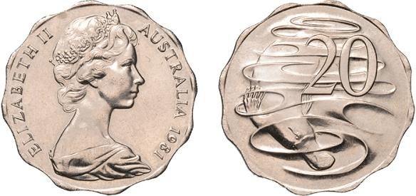 1981 Scalloped 20c