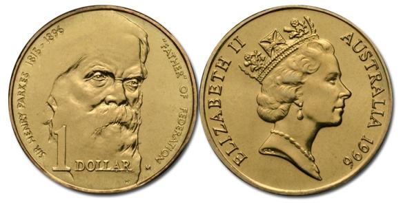 1996 $1 Sir Henry Parkes M Mintmark UNC