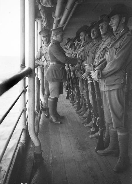 A guard of the 5th Battalion on board A3 HMAT Orvieto, 1914.