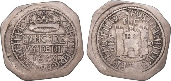 Lot 2690 - English Civil War, Pontefract Besieged (June 1648-March 1648/9) Octagonal Shilling 1648