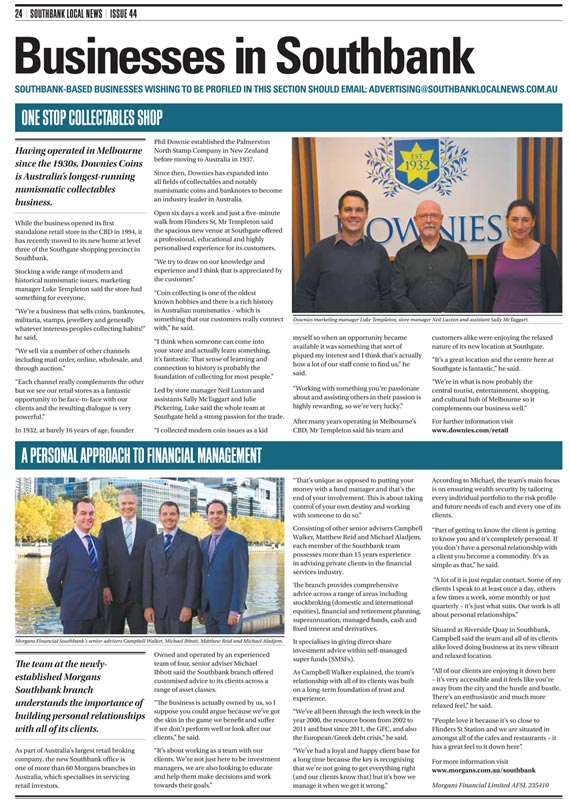 Southbank Local News - Downies Article