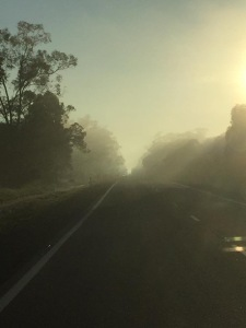 The dust creates eerie scenes on the road